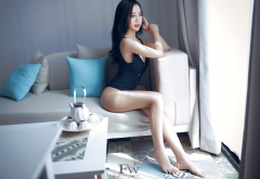 asian, sitting, couch, leotard, sexy legs, brunette wallpaper