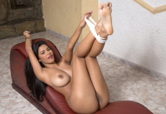 kendra roll, legs up, exotic, big tits, boobs, brunette, white panties, pussy wallpaper