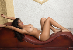 kendra roll, legs, exotic, big tits, boobs, brunette, white panties, topless wallpaper