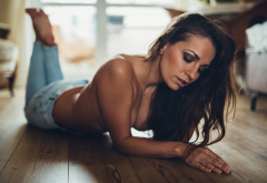 topless, boobs, pants, jeans, tanned, brunette wallpaper