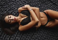 dasha sheboldaeva, women, tanned, belly, black lingerie, closed eyes, top view, arms crossed, busty wallpaper