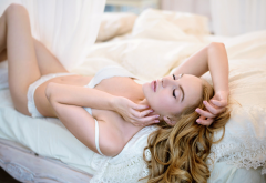 galina tcivina, blonde, closed eyes, white lingerie, in bed wallpaper