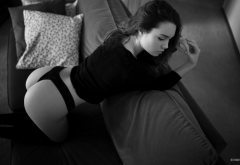 ass, black panties, couch, kneeling, black stockings, monochrome, sofa, doggy wallpaper