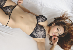 asian, black lingerie, belly, top view, finger on lips, busty, sexy panties wallpaper