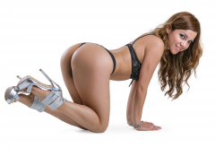 tanned, ass, black lingerie, smiling, high heels, sexy ass, doggy style wallpaper