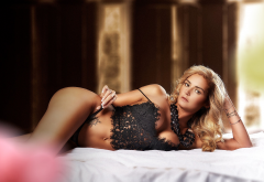 blonde, tanned, tattoo, in bed, black lingerie, holding panties wallpaper