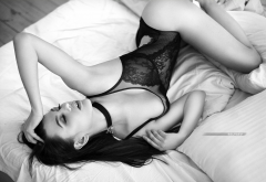 hips, black lingerie, closed eyes, monochrome, choker, in bed, see-through, tits wallpaper