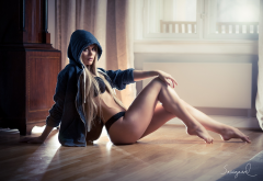 rebekka norvik, sweater, hoods, sitting, black panties, blonde, sexy legs wallpaper