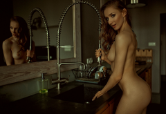nude, ass, boobs, mirror, reflection, kitchen, tits wallpaper
