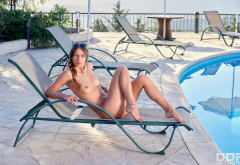 Yarina A, Nikki, brunette, pool, deck chair, nude, hot, tits, legs, sunglasses wallpaper