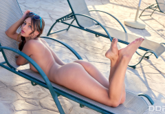 Yarina A, Nikki, brunette, pool, deck chair, nude, hot, legs, sunglasses, ass, brunette wallpaper