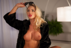 brigitta, blonde, fake tits, boobs, blonde, thong, sunglasses, fur coat wallpaper