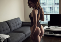 women, tanned, ass, black lingerie, back, couch wallpaper