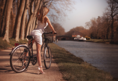 sexy, blonde, dress, high heels, outdoors, bicycle, river wallpaper