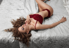 closed eyes, in bed, red lingerie, curly hair wallpaper