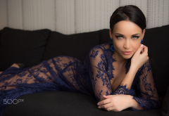 angelina petrova, couch, see-through clothing, model, brunette, sexy wallpaper