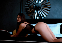ass, tanned, bent over, black lingerie, in bed, arched back wallpaper
