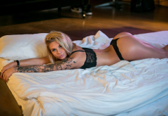 tanned, black lingerie, blonde, tattoo, ass, in bed, sexy wallpaper