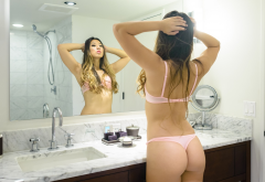 kat sweets, ass, back, pink lingerie, mirror, reflection, bathroom wallpaper