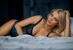 blonde, lingerie, see-through, tanned, boobs, sexy, in bed wallpaper