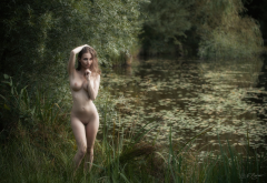 shaved pussy, big tits, boobs, lake, pond, hot wallpaper