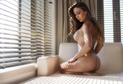 big boobs, ass, sitting, brunette, naked wallpaper