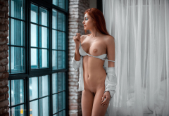 white bra, nude, belly, window, boobs, nipples, trimmed pussy wallpaper