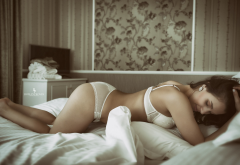 brunette, in bed, white lingerie, ass, bent over, sexy wallpaper
