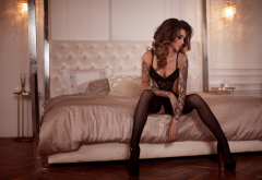 black lingerie, black stockings, high heels, in bed, sitting, tattoo, portrait, sexy wallpaper