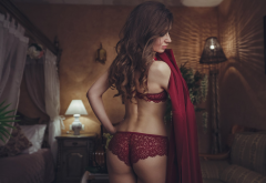 brunette, ass, red lingerie, back, sexy, red panties wallpaper