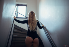 jacqueline noxolo astrand, blonde, ass, wavy hair, leotard, back, stairs wallpaper