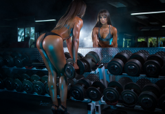 ass, fitness model, gym, dumbbells, back, tanned, panties, high heels, mirror, reflection wallpaper
