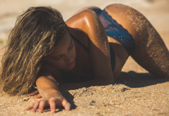bent over, blue lingerie, tanned, sand, closed eyes, sand covered, wet, beach, sexy ass wallpaper