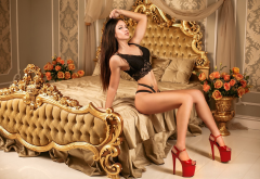 nika trublovskaya, tanned, in bed, black lingerie, brunette, high heels, red heel, legs wallpaper