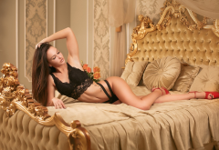 nika trublovskaya, tanned, in bed, black lingerie, brunette, red heel, legs wallpaper