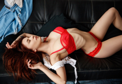 vikusik chigidina, ribs, closed eyes, red lingerie, belly, couch, brunette, sexy wallpaper