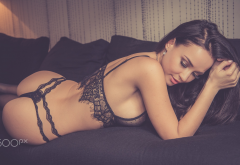 angelina petrova, model, brunette, ass, black lingerie, sideboob, closed eyes, back, black panties wallpaper