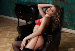 ksenia belskaya, red lingerie, garter belt, stockings, red bra, sexy wallpaper