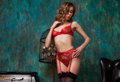 ksenia belskaya, red lingerie, garter belt, stockings, red panties wallpaper