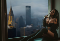 tanned, window, black stockings, black lingerie, sitting, closed eyes, new york wallpaper