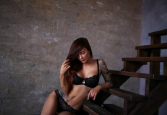 gaiia lima, women, tattoo, belly, black lingerie, pierced navel, stairs, hips, tanned, black panties, bra wallpaper