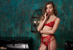 ksenia belskaya, red lingerie, garter belt, portrait, brunette, lingerie, suspenders, red panties wallpaper