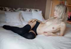 blonde, topless, belly, in bed, black stockings, nipples, black panties, pierced navel, tits wallpaper