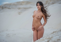 tanned, nude, tits, nipples, sand, outdoors, brunette wallpaper