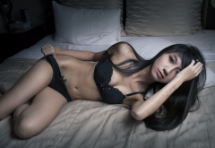 asian, black lingerie, belly, in bed, tanned, black hair, holding panties wallpaper