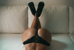 ass, black panties, legs crossed, couch, high heels, panties, sexy ass, tanned wallpaper