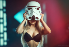 helmet, blonde, black bra, star wars, stormtrooper, mask, sexy wallpaper