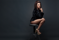 jose carlos martinez, brunette, fur coat, legs, high heels, women, sexy legs wallpaper