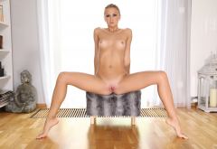 jati, tanned, naked, tiny tits, spread legs, shaved pussy, labia wallpaper
