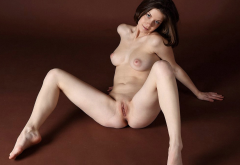 spread legs, naked, shaved pussy, boobs, brunette, labia wallpaper